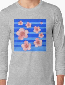 Pink Flowers Blue Stripes for Baby Room Long Sleeve T-Shirt