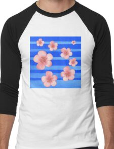 Pink Flowers Blue Stripes for Baby Room Men's Baseball ¾ T-Shirt