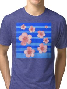 Pink Flowers Blue Stripes for Baby Room Tri-blend T-Shirt