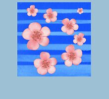 Pink Flowers Blue Stripes for Baby Room Unisex T-Shirt