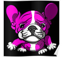 French Bull Terrier Cartoon Pink  Poster
