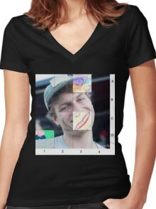 Mac Demarco Sliding puzzle  Women's Fitted V-Neck T-Shirt