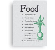 Food Rules Canvas Print