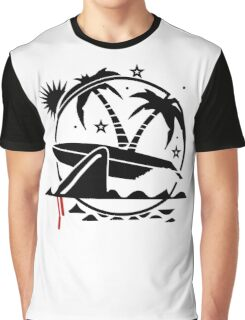Surfboard With Shark Bite Funny Men's Tshirt Graphic T-Shirt
