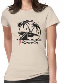 Surfboard With Shark Bite Funny Men's Tshirt Womens Fitted T-Shirt