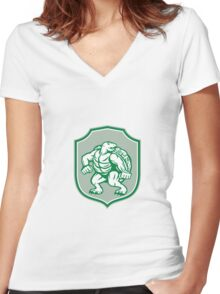 Green Turtle Fighter Mascot Shield Retro Women's Fitted V-Neck T-Shirt