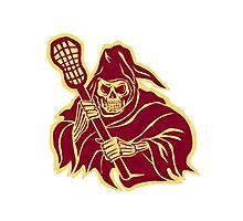Grim Reaper Lacrosse Defense Pole Retro Photographic Print