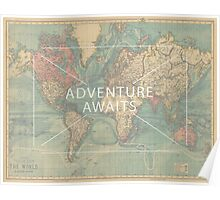 Adventure Awaits World map Poster
