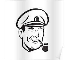 Sea Captain Smiling Smoke Pipe Retro Poster