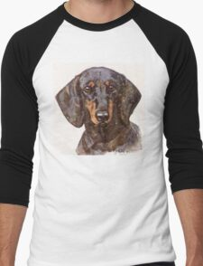 Dachshund Portrait Men's Baseball ¾ T-Shirt