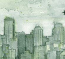 Seattle Skyline Space Needle Watercolor Painting Sticker
