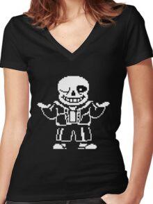Undertale- Sans Women's Fitted V-Neck T-Shirt