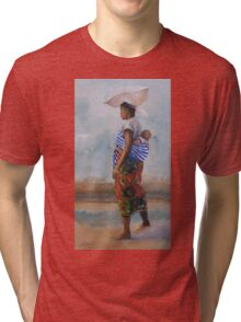 African Mother and Child Tri-blend T-Shirt