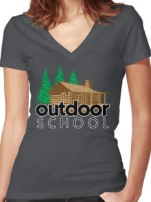 Outdoor School Cabin Women's Fitted V-Neck T-Shirt