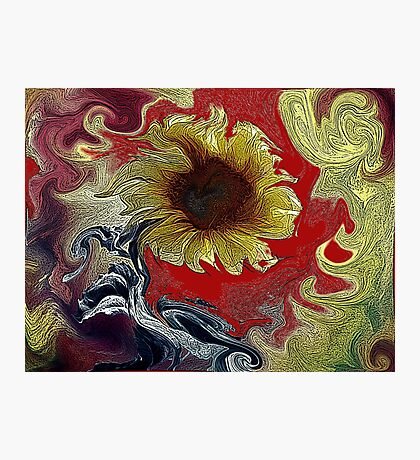 Distorted Sunflower  Photographic Print