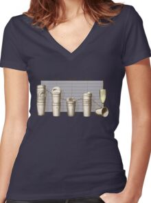 Office Stats Women's Fitted V-Neck T-Shirt