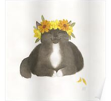 Black Cat With Yellow Flowers Poster