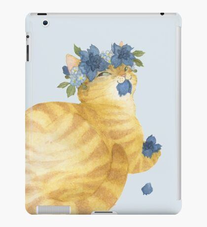 Yellow Cat With Blue Flowers iPad Case/Skin