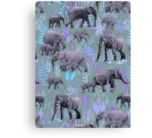 Sweet Elephants in Purple and Grey Canvas Print