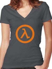 Half Life Lambda Women's Fitted V-Neck T-Shirt