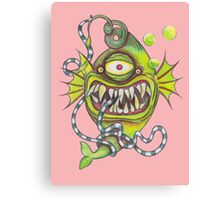 Slick Fish with Bubbles - Girly Pink Canvas Print
