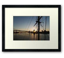 Tall Ship and Brooklyn Bridge - Iconic New York City Sunrise Framed Print