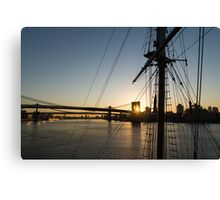 Tall Ship and Brooklyn Bridge - Iconic New York City Sunrise Canvas Print