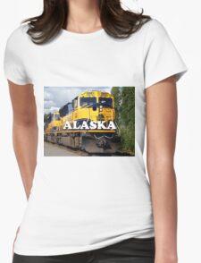 Alaska Railroad train engine (caption) Womens Fitted T-Shirt