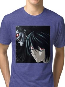 Ryuk and L from the Anime/Manga TV show Death Note: Original Digital Painting Tri-blend T-Shirt
