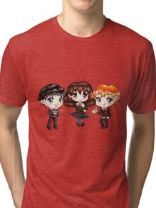 Cute Harry Ron and Hermione wearing Gryffindor Uniforms, Hand-Drawn Manga/Anime Chibi Style Tri-blend T-Shirt