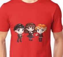 Cute Harry Ron and Hermione wearing Gryffindor Uniforms, Hand-Drawn Manga/Anime Chibi Style Unisex T-Shirt