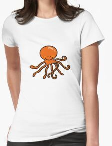 Funny cartoon octopus Womens Fitted T-Shirt