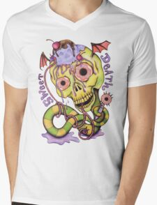 Sweet Death Skull - Cherries, Ice Cream and Donuts Mens V-Neck T-Shirt