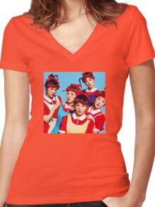 Red Velvet The Red Blue Ver Kpop Women's Fitted V-Neck T-Shirt