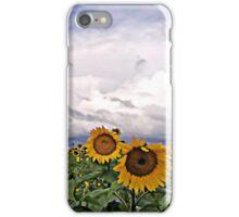 Sunflower field under clouds iPhone Case/Skin