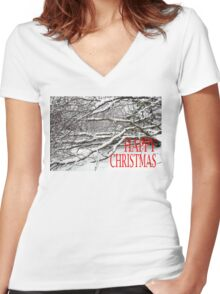 HAPPY CHRISTMAS 2 Women's Fitted V-Neck T-Shirt