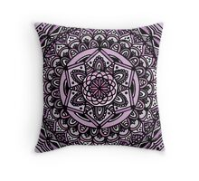 Mandala - Black Line, Purple Throw Pillow