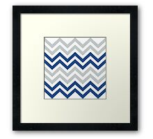 Stylish Blue And Gray Chevron Pattern Framed Print