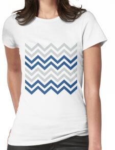 Stylish Blue And Gray Chevron Pattern Womens Fitted T-Shirt