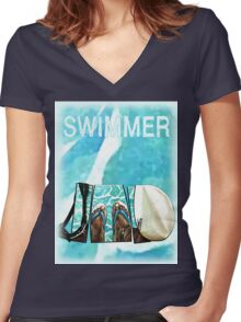 The Swimmer  Women's Fitted V-Neck T-Shirt