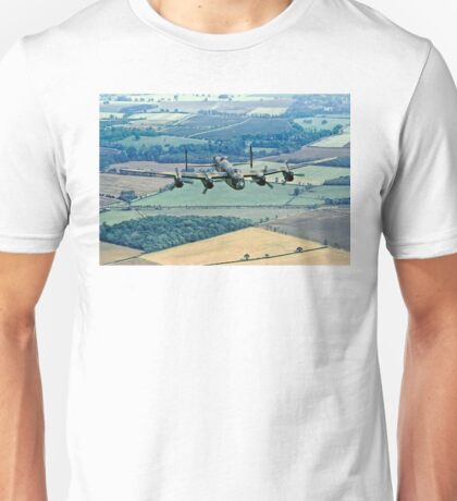 BBMF Lancaster PA474 over Lincolnshire Unisex T-Shirt