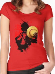 One Piece - Luffy (Pirate Kanji) Women's Fitted Scoop T-Shirt