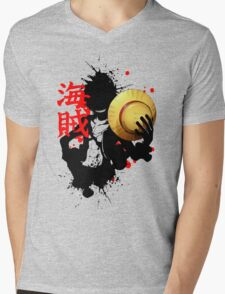 One Piece - Luffy (Pirate Kanji) Mens V-Neck T-Shirt