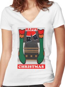 HAPPY CHRISTMAS 17 Women's Fitted V-Neck T-Shirt