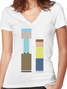 Rick & Morty Women's Fitted V-Neck T-Shirt