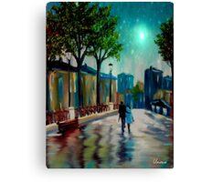 Lovers on a Walk Night Canvas Print