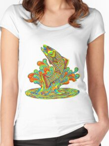 Psychedelic Rainbow Trout Women's Fitted Scoop T-Shirt