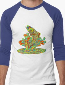 Psychedelic Rainbow Trout Men's Baseball ¾ T-Shirt