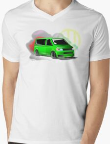 Lime Green VW T5 Stanced Mens V-Neck T-Shirt