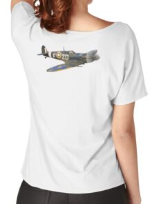 SPITFIRE, British, Airplane, Fighter, WWII, 1942, Spitfire VB, 222 Squadron, cut out Women's Relaxed Fit T-Shirt